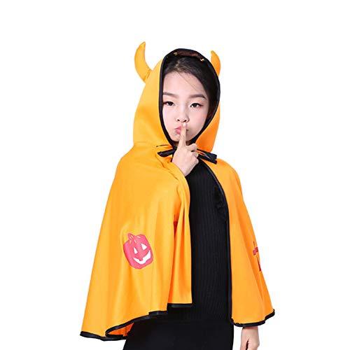 Chytaii Cape mit Kapuze, Halloween, für Kinder, mit Horn, Dämon-Zubehör, Kostüm, Vampir-Kostüm, Kürbis, Mehrfarbig orange Orange ()