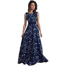 Ouneed Las mujeres florales de largo baile formal vestido de fiesta balón vestido de fiesta de la noche vestido de novia