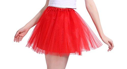 iLoveCos 80er Jahre Neon Tütü/Tutu / Tüllrock/Unterrock Petticoat Rüschen Pink Regenbogen Rot Rock Kostüm 1980er Fancy Dress für Mädchen (Rot)