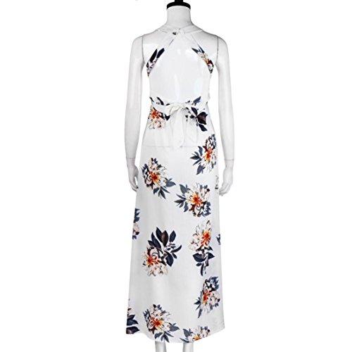 robe femme, Transer ® Femmes Floral Long de Boho Backless sans manches en mousseline de soie soir Maxi robe Blanc