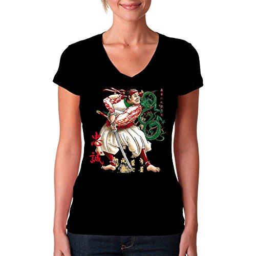 Fun Girlie V-Neck Shirt - Samurai with Sword by Im-Shirt Schwarz