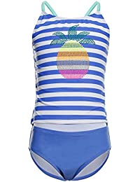61a7dfaf8013 iDrawl Unicorn Swimming Costumes Tankini Set for Girls Pineapple Striped  Kids Swimwear for Age 6 to