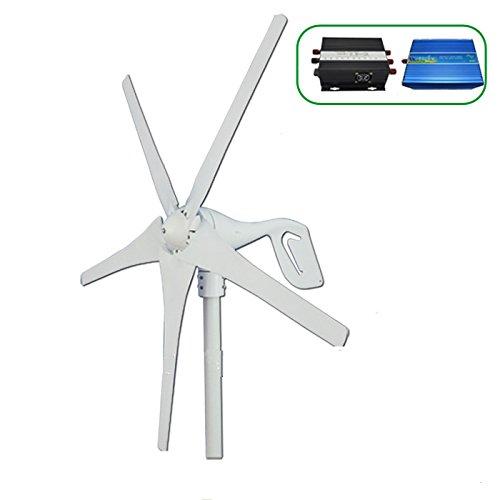 Gowe Wind Power Generator 600W max für Land und Marine, 12V/24V Wind Turbine + Wind Controller + Pflanzenbeleuchtung Off Grid reine Sinuswelle Wechselrichter -