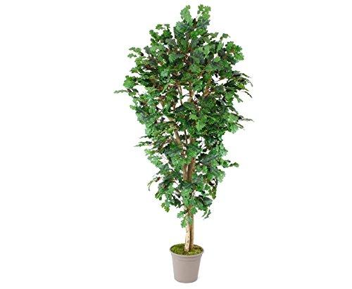 Künstlicher Eichenbaum 200cm mit 1050 Textilfaser Blätter und Naturstämmen