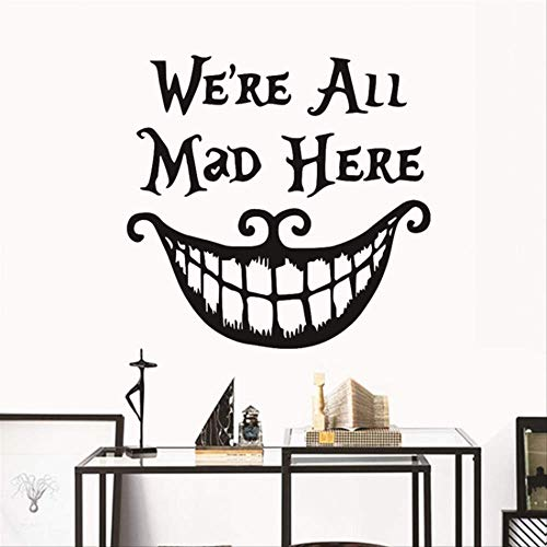 tmas Decor Wall Stickers Decals We Are All Mad Here Vinyl Quotes Sticker Funny Smile Face Big Mouth Decor ()