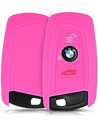 kwmobile Housse en silicone pour BMW 3-Bouton clef de voiture à distance (seulement Keyless Go) housse étui de protection clés Key Case Cover en rose foncé