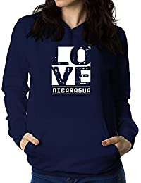 Teeburon LOVE Nicaragua Sudadera con capucha para mujer