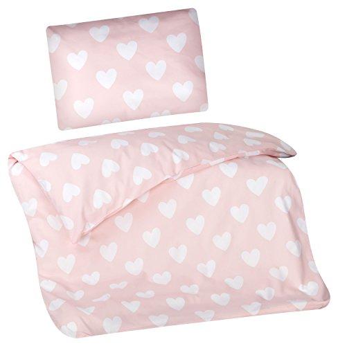 Aminata Kids Kinder-Bettwäsche 100-x-135 cm Herz-en Liebe Love Baby-Bettwäsche 100-{d4704710c750c4bb3a479d924d6ee53f94f2bb1145a24aa3a479c08933c6ed68} Baumwolle Renforce pink alt-rosa Weiss-e Mädchen