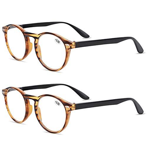 KOOSUFA Lesebrille Herren Damen Retro Runde Nerdbrille Lesehilfen Sehhilfe Federscharniere Vollrandbrille Anti Müdigkeit Brille mit Stärke 1.0 1.5 2.0 2.5 3.0 3.5 4.0 (2x Braun, 1.0)