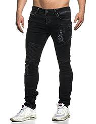 Tazzio Jeans Slim Fit Look Usé Homme Style Biker stretch Pantalon denim 16517