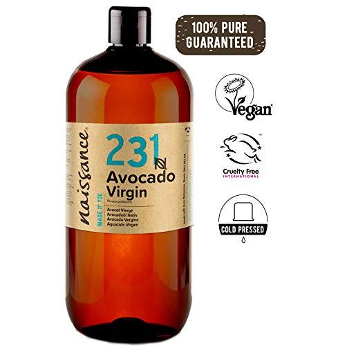 Naissance Aceite Vegetal de Aguacate n. º 231 - 1 Litro - 100% puro, virgen, prensado en frío, vegano y no OGM