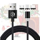 UGI 3-in-1-Weihnachts-Rotary-Magnetladekabel mit Micro-USB, Typ C, IOS-Anschluss Ladekabel kompatibel für iPhone, Android, Samsung, HTC, Pixel LG usw