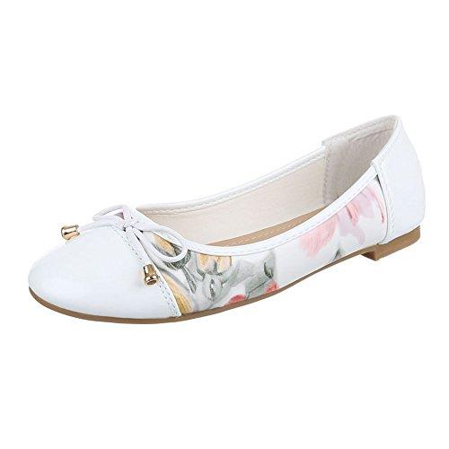 Ital-Design Ballerinas Damen-Schuhe Blockabsatz Moderne Ballerinas Weiß Multi, Gr 39, Ja-265- (Schuhe Canvas Multi)
