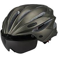 XDXDWEWERT Bicicleta Cascos de Ciclismo para Bicicleta con Gafas Desmontables Casco de Carreras de Ciclismo Casco de protección de Seguridad para Adulto Ajustable (Gris)