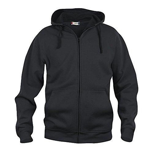 Felpa maglia cardigan full-zip cappuccio uomo cotone CQ021034 - Nero, 5XL