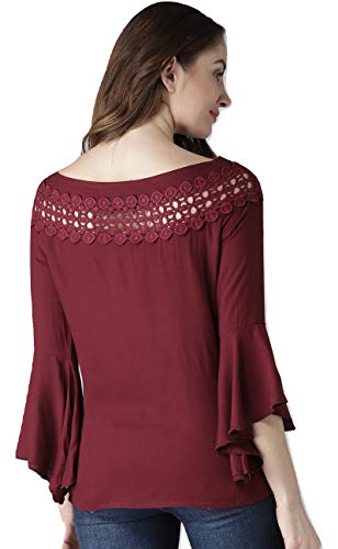 STYLE QUOTIENT Women Rayon Maroon Solid Stylish Western Wear Top with Belll Sleeves for Office Wear, Casual Wear and Daily Wear Under 500 for Women-S-Maroon