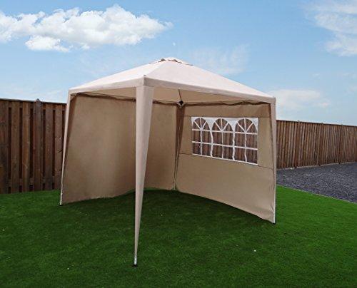Cenador Carpa Gazebo Pavilion | 270 x 270 cm (2,7 x 2,7 m) | Beige/Arena | sorara | W/paredes |...