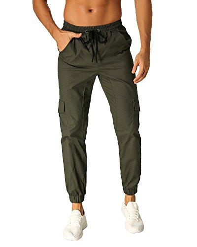 Modchok uomo pantaloni lunghi jogging pantaloni di sport chino jogger tuta sportiva verde militare l