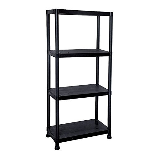 Oypla 4 Tier Schwarz Kunststoff Heavy Duty Regale Racking Storage Unit