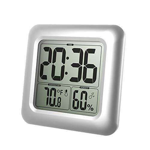 Hergon LCD Bad & Dusche Uhr, Wasserdicht Badezimmeruhr, An der Wand montiert, Saugnäpfe, Digitalanzeigen Zeit, Temperatur und Innere Relative Feuchtigkeit - Lcd Dusche Uhr