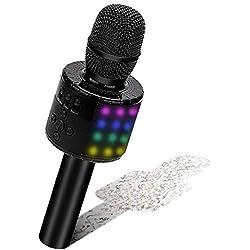 BONAOK Microphone Sans Fil, Microphone Karaoké Enfant Bluetooth Lecteur Enregistreur Portable, Lumières LED Coloré Microphone de Fête Familial pour Appareil Intelligent Android/iOS-Noir