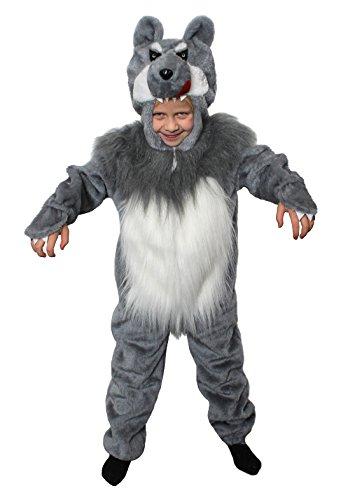 ILOVEFANCYDRESS Kinder Wolf Onsie MIT FELLBAUCH=MÄRCHEN KOSTÜM VERKLEIDUNGEN AN Fasching+Karneval+BUCHWOCHE=BÖSER Wolf =Einteiler MIT Reissverschluss AUF DER VORDERSEITE=MEDIUM