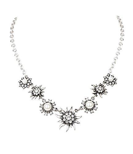 SIX Kurze Silberkette mit Edelweiß-Anhängern, weißen Perlen und Strasssteinen, Halskette perfekt für JGA/Hochzeit/Oktoberfest, weiß-Silber (730-587)