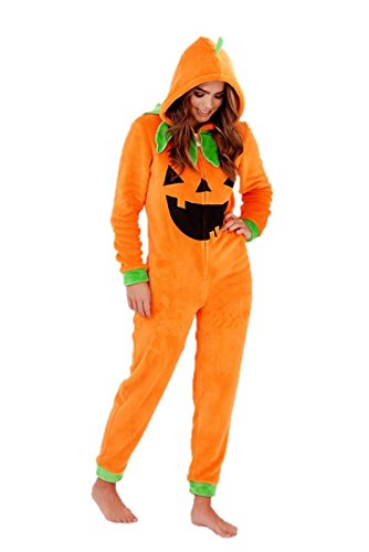Ladies Womens Fleece Jumpsuit Pumpkin Halloween Fancy Dress Pyjama (Kostüme Lady Kürbis)