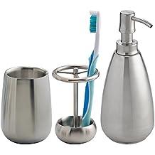 mDesign Juego de 3 accesorios para baño – Conjunto de baño con soporte para cepillo de dientes, dosificador de jabón y vaso para enjuague – Set de baño en ...