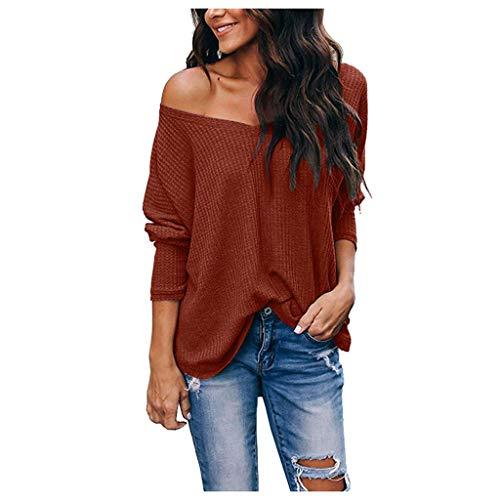 äufige lose Feste Lange Hülsen Oansatz Sweatshirt Oberseiten Frauen Einfarbig Langarm Casual T-Shirt Top Sweatshirt(Rot,M) ()