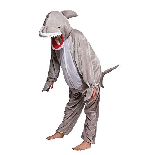 Hai mit offenen Mund Tier Kostüm Halloween Kostüm Outfit - L - 134 / 146cm (Shark Fancy Dress Kostüm)