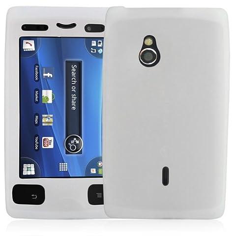 Housse coque étui en silicone translucide pour Sony Ericsson Xperia mini PRO (SK17i) couleur blanc