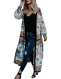 Cardigans Mujer Kimono 2019 Nuevo SHOBDW Pareos Manga Larga Cardigans Mujer Flores Boho Vendaje Playa de Verano Cardigans Mujer Largo Cover Up Suelto Tops Blusa Tallas Grandes S-3XL