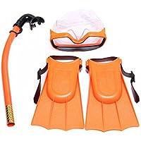 Schwimmflossen Schnorchelrohr Hinmay 3-teiliges Schnorchel-Set f/ür Kinder bestehend aus Anti-Beschlag-Schwimmbrille