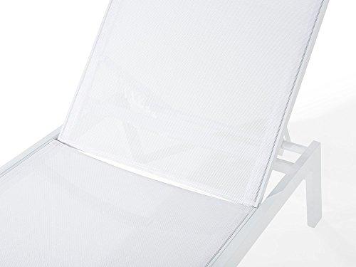 Beliani Gartenliege Aluminium Textilbespannung Weiss Catania II