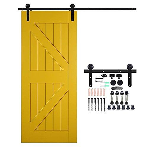 Ccjh 8ft-242cm scorrevole binario ruote rulli hardware della porta kit accessori per singolo porta scorrevole in stile rustico round shaped