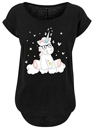 Femmes femmes Long Jille t-shirt t-shirt d'été Haut pour femmes Licorne Licorne cutie mit Lunettes Noir
