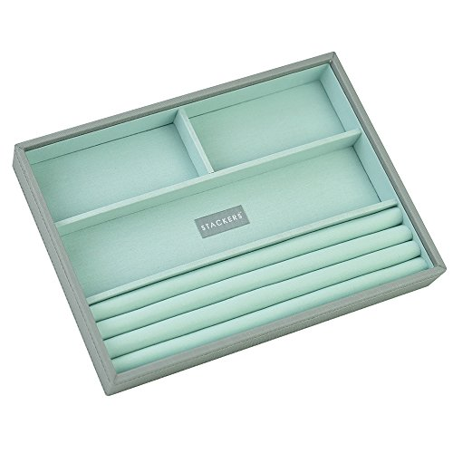 STACKERS 'CLASSIC SIZE' Dove Grey Ring/Bracelet Section STACKER Jewellery Box with Mint Green Lining.