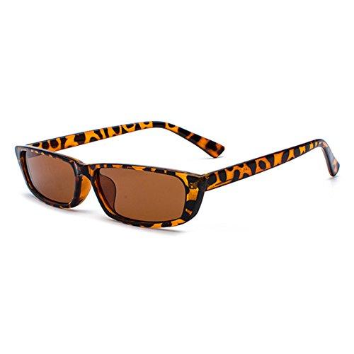 juqilu Black Rock Klassische Sonnenbrille UV400 Vintage Damen Herren Kleine Rechteck Sonnenbrille C2