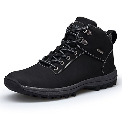 Rioneo Hombre Botas de Nieve Senderismo Impermeables Deportes Trekking Zapatos Hiking Sneakers Negro 46