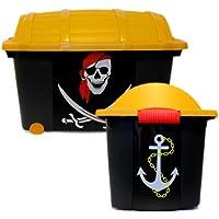 Preisvergleich für LS-LebenStil LS Kinder Spielzeugkiste Schatztruhe Aufbewahrungsbox Piratenbox Piratenkiste Pirat Box Kiste
