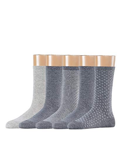 ESPRIT Damen Socken Backstripe 5-Pack, Baumwollmischung, 5 Paar, Grau (Light Grey Melange 3390), Größe: 36-41