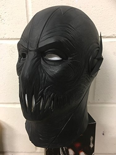 Zoom zoomer flash uk halloween carnevale cosplay nero latex cosplay per tutta la testa casco maschera - universale taglia