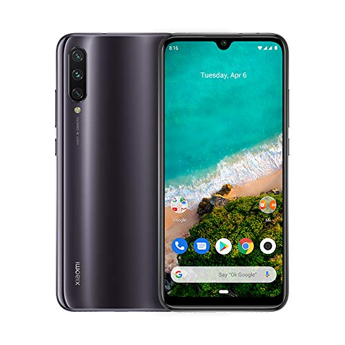 Xiaomi Mi A3 - Android One, AMOLED de 6,088' (Cámara frontal de 32 MP, trasera de 48 + 8 + 2 MP,4030 mAh, Jack de 3,5 mm, Qualcomm Snapdragon 665 2,0 GHz, 4 + 64 GB) Color Grisáceo [Versión española]
