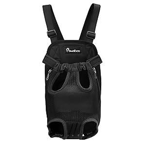 Pawaboo vorne Hunde Rucksack – verstellbar Haustier Katze Tasche Tragetasche Hundetasche Hundetragetasche für Outdoor, Reise, Camping, Wandern, S Größe, bis 2.5 kg, Schwarz