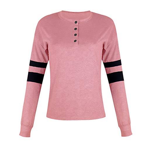 YEZIJIANG T-Shirt Damen V-Ausschnitt Knopfleiste Bluse Tunika Herbst Tops Frauen Langarmshirt Farbblock T-Shirt Langarm Henley Shirt Basic Tops Bluse Casual Oberteile Sweatshirt -