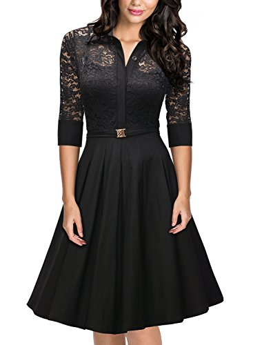 Miusol Damen Spitzen 3/4 Aermel Elegant Revers Cocktailkleid 1950er Jahre Faltenrock Party Kleid Schwarz1 ()