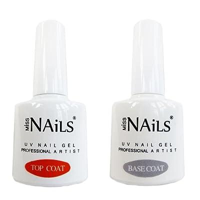 Miss Nails - Dual Pack - Top & Base Coat UV Nail Gel Soak off Professional 10ml x 2