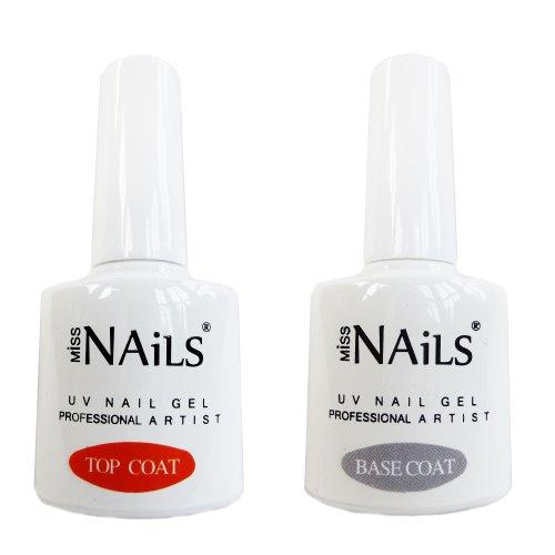 Professional Uv Gel (Miss Nails - Dual Pack - Top & Base Coat UV Nail Gel Soak off Professional 10ml x 2)