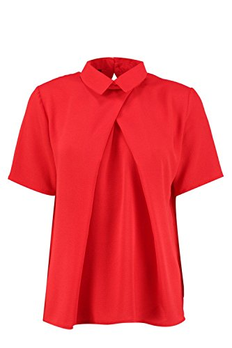 rouge Femmes nicola chemisier manches courtes en mousseline de soie Rouge